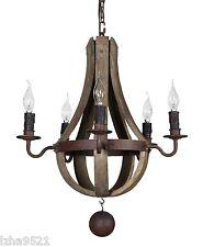 "New  Mini ( 20"") rustic wood and iron wine barrel chandelier"