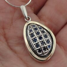 Hadar Designers Pendant 9k Yellow Gold 925 Silver Blue Sapphire Handmade Deco(MS