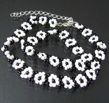 Bracelet Chain Necklace Arm Black-White Beads Jewelry Pearl A1149