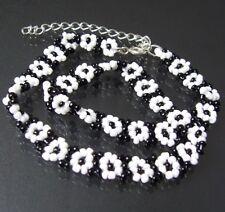 Pulsera cadena collar blanco y Negro Cuentas decoración DE PERLAS a1149