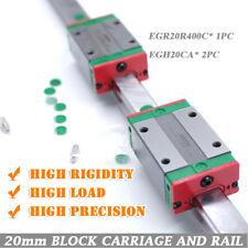 HIWIN EGR20 400mm Linear Guide Rail & 2Pcs EGH20CA Linear Block Carriages CNC
