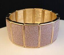 Designer Stretch Bracelet Gold Pink Glimmering Sparkle Classic Chic NWOT r12J