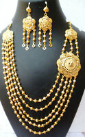 Indian 22K Gold Plated 12 Inch Long Fashion Necklace Earrings Weddings Set C