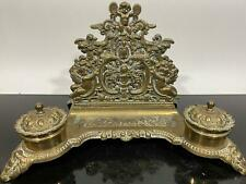 Vintage Brass Baroque Art Nouveau Ornate Double Desk Writing Inkwell Italy