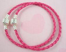 10pcs Hot Pink Charm Leather Bracelet Fit European Beads 20cm P11-8