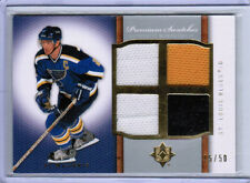 07/08 UD ULTIMATE AL MACINNIS PREMIUM SWATCHES QUAD JERSEY /50 ST LOUIS BLUES