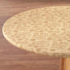 FITTED Vinyl Table Cover Floral Round Oblong Yellow Blue Brown Tan Red Green ~