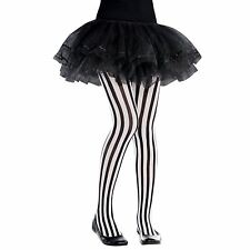 Girls Vertical Striped Tights 6-8 Years Black White Halloween Party Pirate UK BN