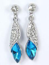Women's Silver Plated Blue Crystal Drop Dangle Stud Earrings Jewellery