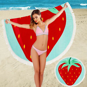 South Beach Strawberry Round Fringed Beach Scarf Towel Holiday Summer Blanket