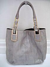 NEW ANYA HINDMARCH Hector gray python gold metal details large handbag
