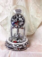 Disney MICKEY MOUSE Domed Anniversary Clock Porcelain WORKS ! Vintage Deluxe