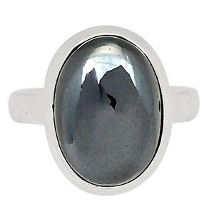 Hematite 925 Sterling Silver Pendant Jewelry Ring s.8.5 ALLR-406