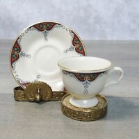 Pickard Fleur de Lis Footed DEMITASSE COFFEE TEA CUP & SAUCER Burgundy Gold Rim!