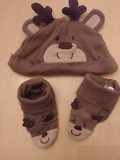 Carter'S Reindeer Hat & Socks, Infant Size 3 Months, 100% Cotton, Euc