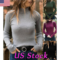 Winter Warm Women Knit Sweater Shirt Turtleneck Jumper Casual Slim Top Blouse US