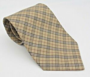 Burberry Nova Check Tan Plaid 100% Silk Men's Tie Made in Italy