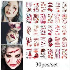 Halloween Tattoos Costume Scar Blood Wounds Scabs Zombies Stitches Make Up Cuts