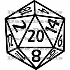 D20, dungeons and dragons, pathfinder, d20 decal sticker