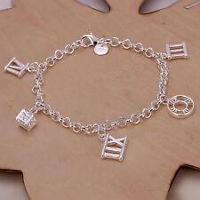 Women's Unisex 925 Sterling Silver Bracelet Roman Numeral L45