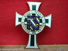Jolie antique pin enamelled, God, Homeland, Diocese of Troyes
