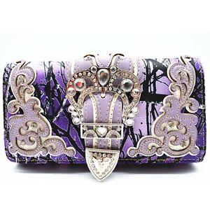 Camouflage Buckle Western Style Women Wristlet Trifold Wallet Purse Lavender