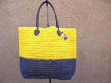 Purple & Yellow Straw Shopper Beach Gym Tote Bag  Handbag  Purse Big Large New
