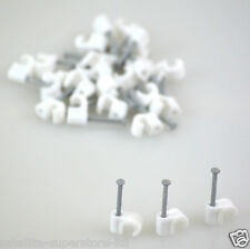 100 WHITE SINGLE CABLE CLIPS FOR WF100 / CT100 / RG6 COAX CABLE