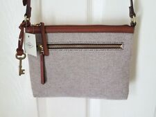 NWT FOSSIL FIONA Fabric Small Crossbody Bag NEUTRAL BROWN MULTI Hobo Messenger