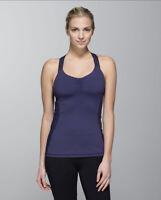 Lululemon Core Kicker Tank Top Cadet Blue 6 Criss Cross Open Back 1/8 Stripe