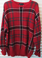 NAUTICA Large Men's Red Checkered Cotton Sweater Pullover-Long Sleeves