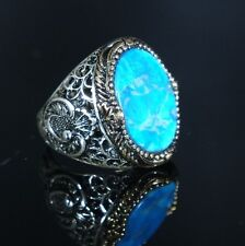 Turkish Handmade Ottoman 925k Sterling Silver Turquoise Men's Ring Size 10 11 12