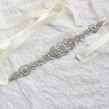 Vintage Rhinestone Sash Belt Bridal Gown Crystal Wedding Dress Pearl Sash Belt
