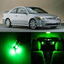 8 x Green LED Lights Interior Package For Honda CIVIC 2001 - 2005 Coupe Sedan