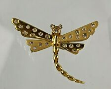 High Quality 18k Yellow Gold & Natural Diamond Dragonfly Pendant / Brooch
