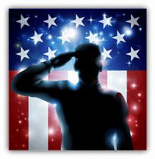 "USA Flag Soldier Veteran Car Bumper Sticker Decal 5"" x 5"""