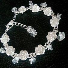 Satyaloka Azeztulite Crystal Silver Flower Bracelet Active Solar Eclipse Energy