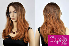 Celebrity Wavy Soft  Brown Long Ombre Two Toned Sombre Wig Hair Rihanna