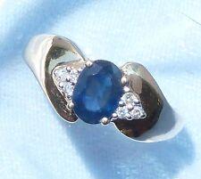 10K Yellow Gold Ring, 7 x 5 Natural Sapphire, 6, 1.5mm Diamonds, Size 8.5