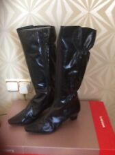NEW WONDERS   BLACK. HIGH SHINE KNEE LENGTH.BOOTS.  SIZE 6.5   EUR 40. DIFFERENT