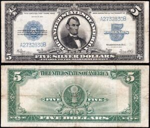 NICE mid-grade 1923 $5 Lincoln PORTHOLE Silver Certificate! FREE SHIP! A2732830B