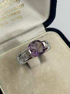 Vintage 925 Silver & Amethyst Solitaire Diamond Accent Dress Ring Size N 4.7g