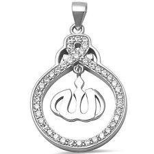 Arabic Allah Cz Charm .925 Sterling Silver Pendant Necklace