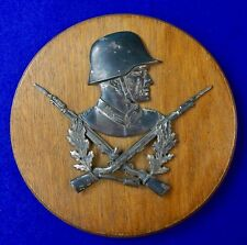 Antique German Germany Ww1 Soldier Metal Wood Plaque