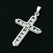9ct White Gold Cubic Zirconia Cross Pendant - Boxed