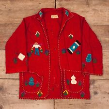 Womens Vintage Mexican 1950s Embroidered Wool Souvenir Jacket Small 8 XR 8671