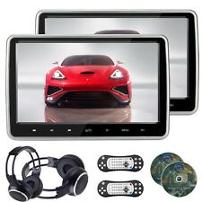 "2x 10.1"" LCD Screen Car Headrest DVD Player Pillow HDMI Monitor +IR Headphone"