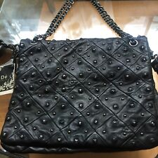 De.De Black Studded Leather Hobo  Flap Bag  !!!GORGEOUS!! SOLD OUT!!!