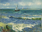 Seascape near Les Saintes by Van Gogh, Giclee Canvas Print, in various sizes