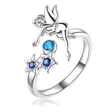 Fairy tinker bell blue crystal star ring